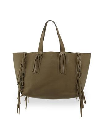 Crockee Leather Fringe Tote Bag, Olive