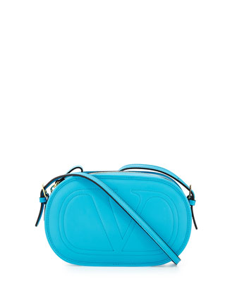V Logo Leather Crossbody Bag, Blue
