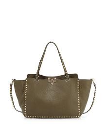 Rockstud Leather Tote Bag, Olive