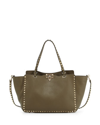 Rockstud Leather Tote Bag, Olive