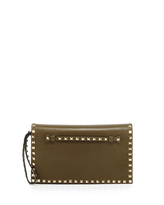 Rockstud Leather Flap Clutch Bag, Olive