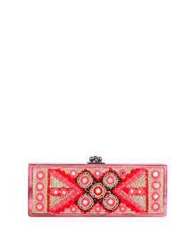 Flavia Embroidered-Inlay Clutch Bag