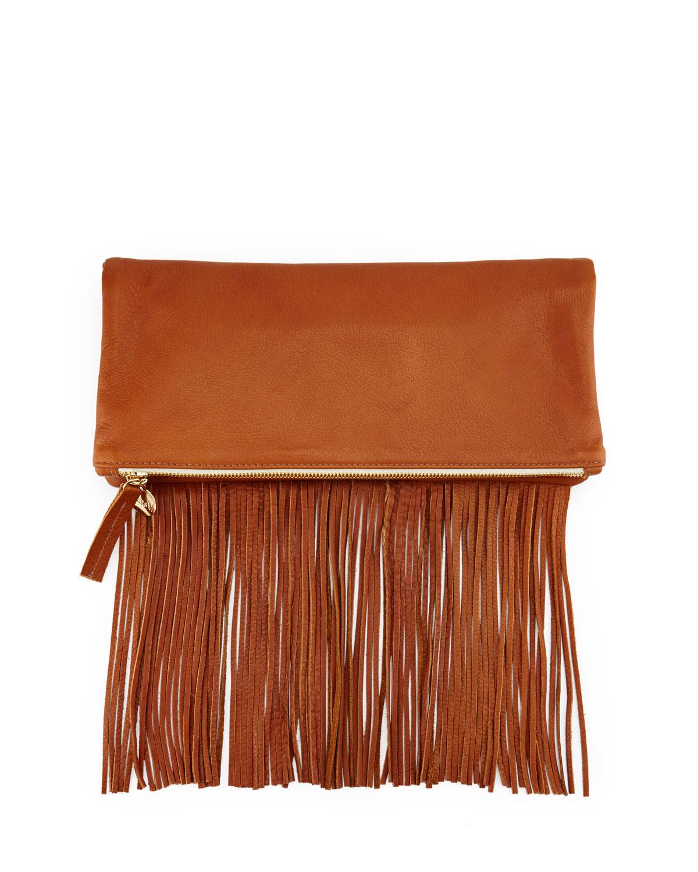 Clare V. Leather Fold-Over Fringe Clutch Bag, Tan
