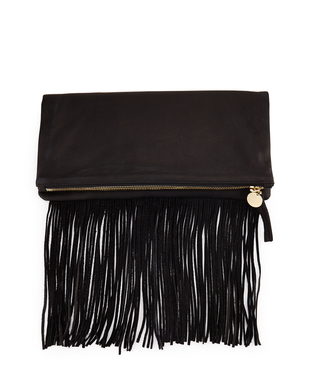 Clare V. Leather Fold-Over Fringe Clutch Bag, Black
