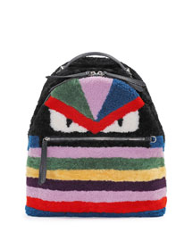 Monster Shearling Fur Backpack, Multicolor