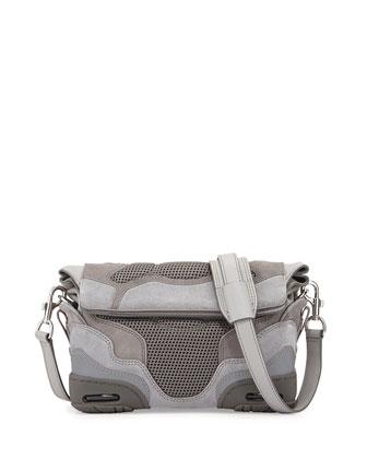 Suede & Mesh Sneaker Sling Bag, Gray