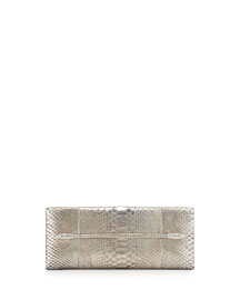 Metallic Python Snake-Jeweled Evening Clutch Bag, Silver