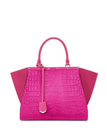 3Jours Croc-Embossed Calf Hair Satchel Bag