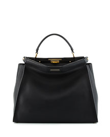 Peekaboo Large Leather Satchel Bag, Black