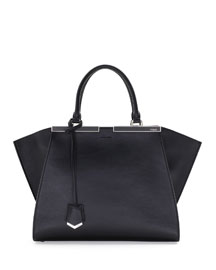Trois-Jour Leather Tote Bag, Black