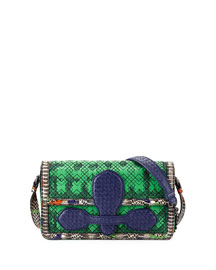Snakeskin & Leather Geometric Stitched Satchel Bag, Green