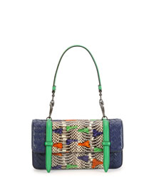 Multicolor Snakeskin & Leather Shoulder Bag