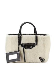 Metallic Papier A4 Shearling Fur Tote Bag, Cream