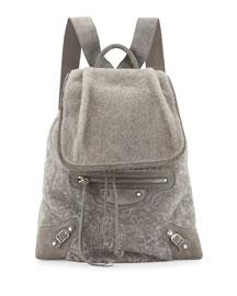 Traveler Shearling Fur Flap-Top Backpack
