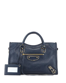 Metallic Golden Edge City Bag, Blue
