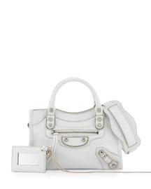 Metallic Edge Mini City Bag, White