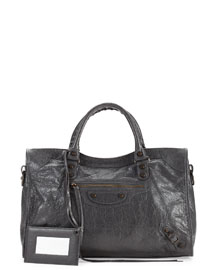 Classic Town Leather Bag, Medium Gray
