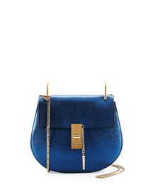 Drew Small Metallic Shoulder Bag, Blue