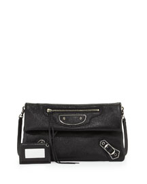 Metallic Edge Nickel Envelope Clutch Bag, Black