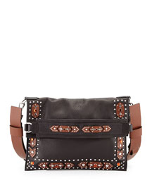 Postino Studded Foldover Shoulder Bag, Black Pattern