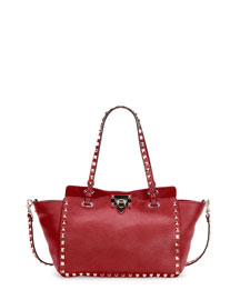 Rockstud Leather East-West Tote Bag