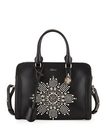 Skull Padlock Crystal-Embellished Small Satchel Bag