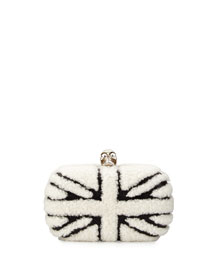 Skull Shearling Fur Union Jack Clutch Bag