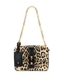 B-Rockstud Leopard-Print Calf Hair Shoulder Bag