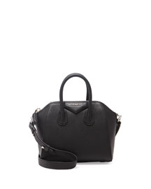 Antigona Mini Leather Satchel Bag, Black