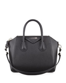 Antigona Small Sugar Goatskin Satchel Bag, Black