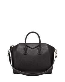 Antigona Medium Leather Satchel Bag, Black