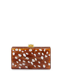 Jean Fawn-Spot Clutch Bag, Brown Pattern