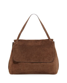 Suede Top-Handle Medium Satchel Bag, Brown