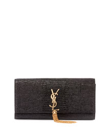 Monogram Python-Stamped Clutch Bag, Black