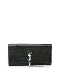 Monogram Croc-Embossed Tassel Clutch Bag