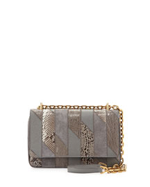 Crocodile & Python Patchwork Shoulder Bag