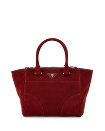 Suede Twin-Pocket Tote Bag