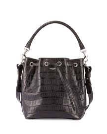Emmanuelle Croc-Embossed Bucket Bag