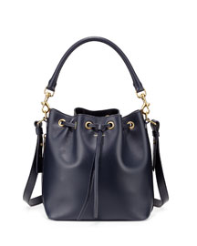 Emmanuelle Medium Calfskin Bucket Bag, Navy