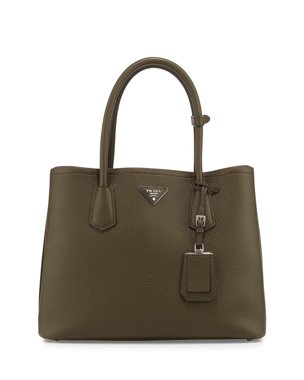Prada Daino Pebbled Leather Medium Double Bag, Size: M, Green