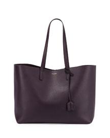 East-West Leather Shopper Bag