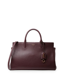 Monogram Leather East-West Tote Bag, Burgundy