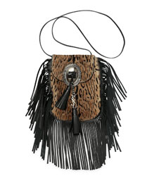 Anita Leopard-Print Calf Hair Fringe Bag