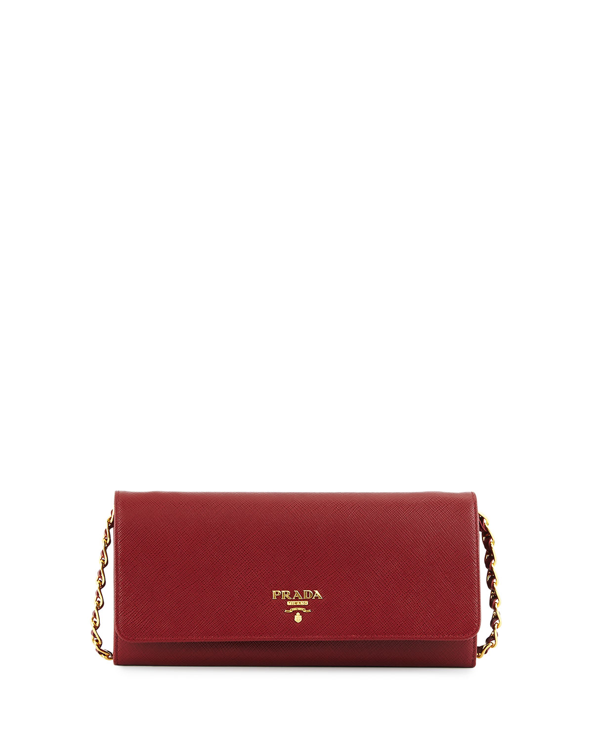 Prada Saffiano Leather Wallet-on-Chain, Red, Red Pattern
