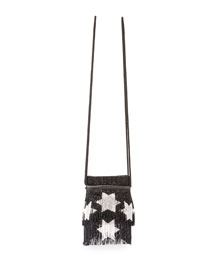 Monogram Star-Beaded Fringe Crossbody Bag