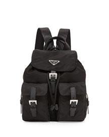 Vela Small Nylon Backpack, Black (Nero)