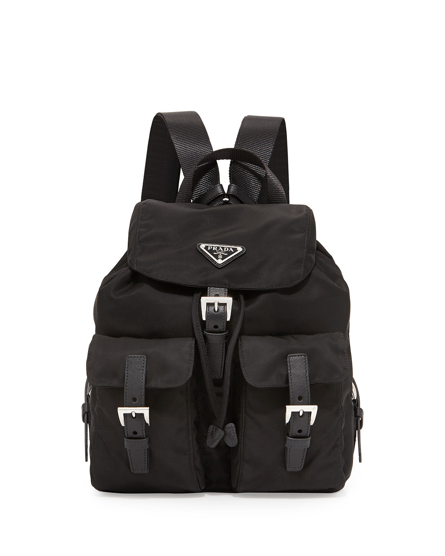 Prada Vela Small Nylon Backpack, Black (Nero)