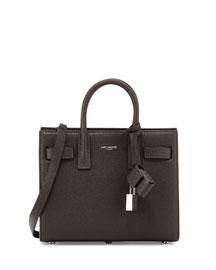 Sac de Jour Leather Nano Carryall Bag, Dark Gray