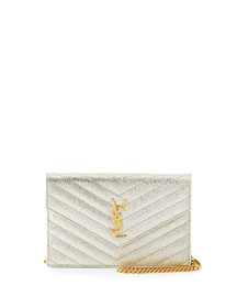 Monogram Matelasse Metallic Wallet on Chain, Gold