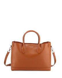 Smooth Leather East-West Tote Bag, Tan